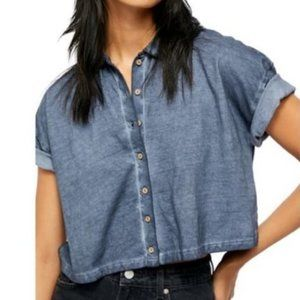 Free People Weekend Rush Top chambray blue XS NWT